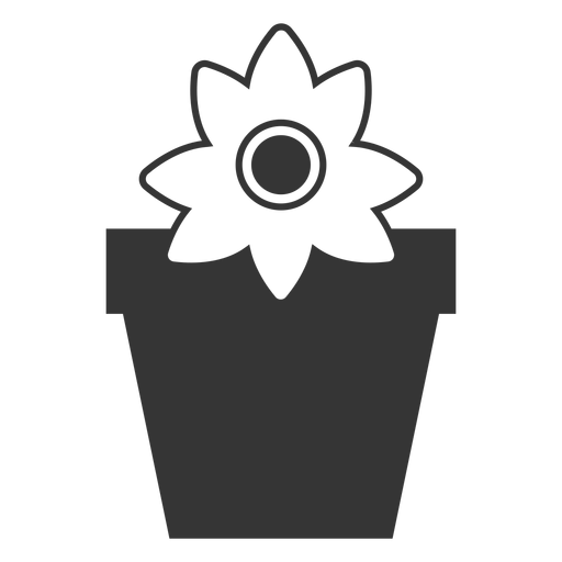 Flower in a pot vector icon Transparent PNG