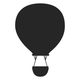 Flying hot air balloon silhouette