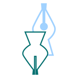 Fountain pen tip line style vector