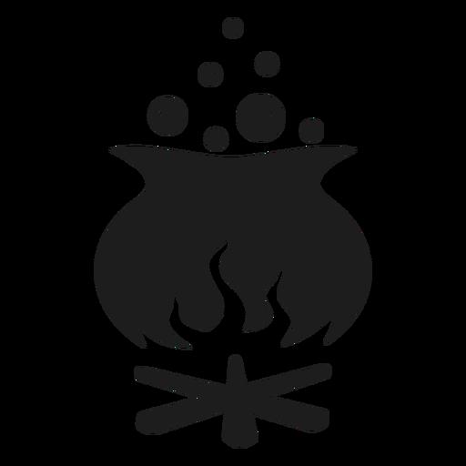 Silueta de olla de bruja de halloween Transparent PNG