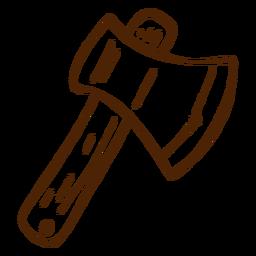 Icono de hacha dibujado a mano