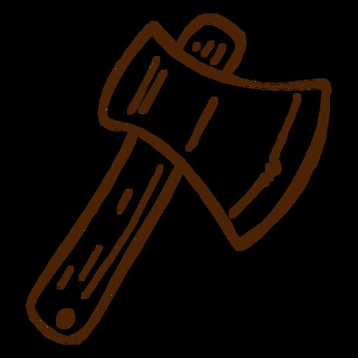 Icono de hacha dibujada a mano