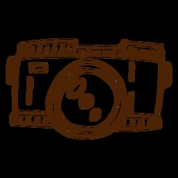 Mão, desenhado, ícone câmera, acampamento