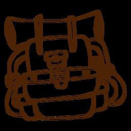 Ícone de mochila de campismo desenhado de mão