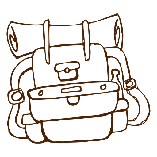 Hand drawn camping backpack icon Transparent PNG