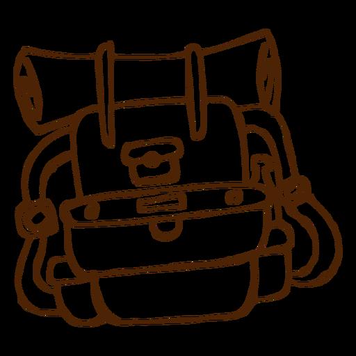 Icono de mochila de camping dibujado a mano