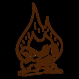 Dibujado a mano icono de hoguera camping