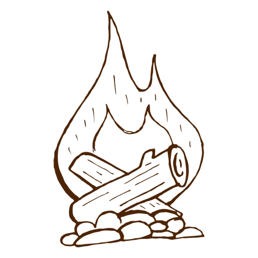 Hand drawn camping bonfire icon Transparent PNG