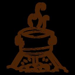 Ícone de pote de cozinha camping desenhado a mão