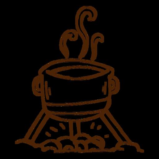 Ícone de pote de cozinha camping desenhado a mão Transparent PNG