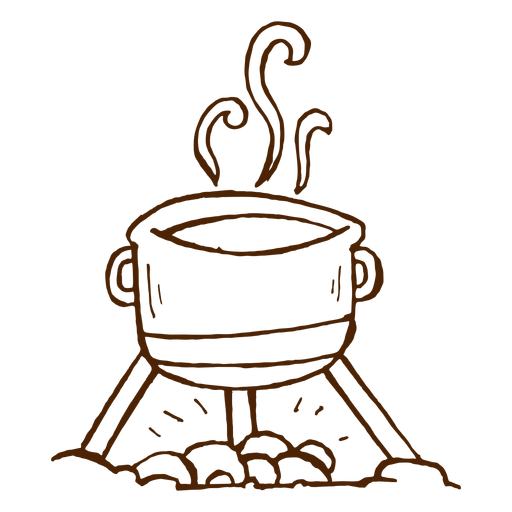 Hand drawn camping cooking pot icon Transparent PNG
