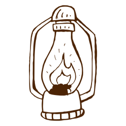 Hand drawn camping lamp icon