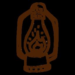 Mão, desenhado, acampamento, lâmpada, ícone