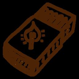 Dibujado a mano icono de caja de cerillas camping