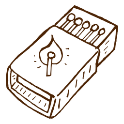 Hand drawn camping matchbox icon
