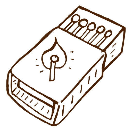 Dibujado a mano icono de caja de cerillas camping Transparent PNG