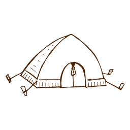 Hand drawn camping tent icon