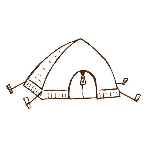 Hand drawn camping tent icon Transparent PNG