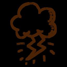 Icono de nube y rayo dibujado a mano