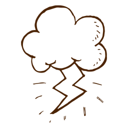 Mão, desenhado, nuvem, e, relampago, ícone