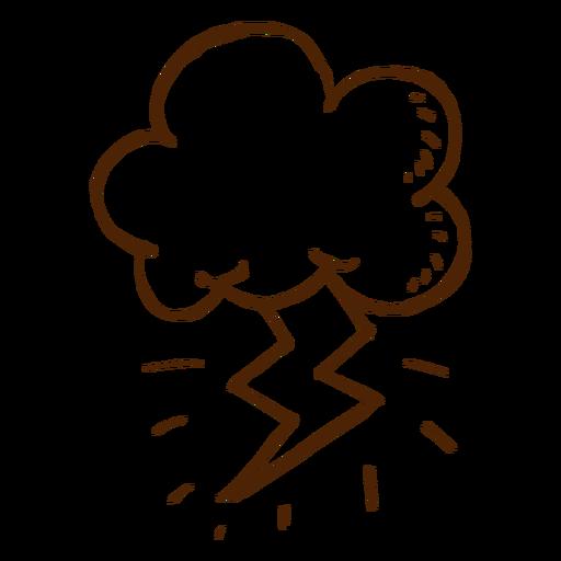 Icono de nube y rayo dibujado a mano Transparent PNG
