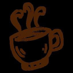 Mão, desenhado, xícara café, ícone, acampamento