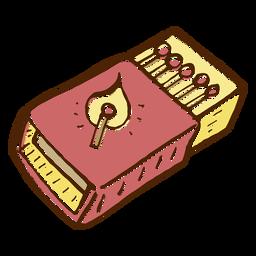 Dibujado a mano icono de caja de cerillas de color