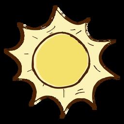 Dibujado a mano icono de sol de color
