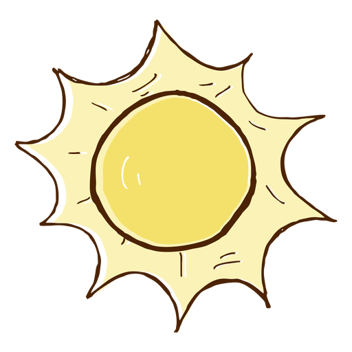 Hand drawn colored sun icon Transparent PNG