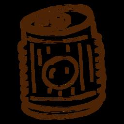 Bebida desenhada mão pode ícone