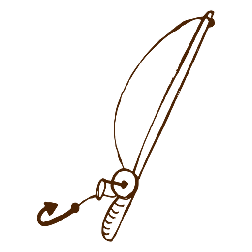 Hand drawn fishing rod icon Transparent PNG