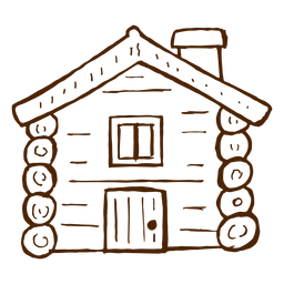 Hand drawn log cabin icon