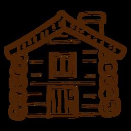 Icono de la cabaña de madera dibujados a mano