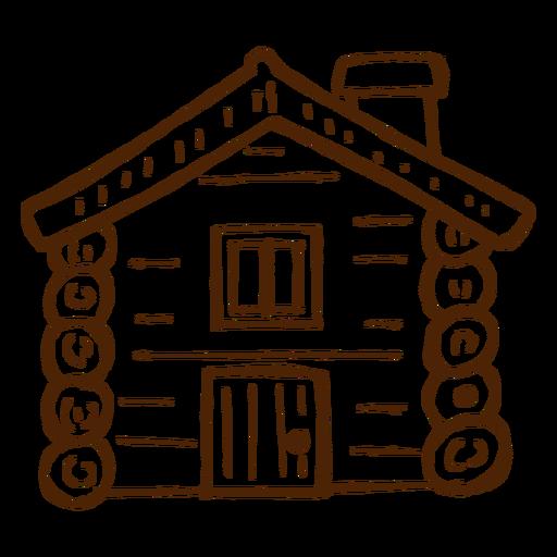 Icono de cabaña de madera dibujado a mano