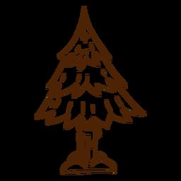Dibujado a mano icono de pino