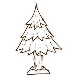 Hand drawn pine tree icon