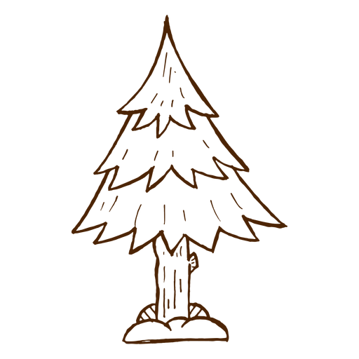 Hand drawn pine tree icon Transparent PNG
