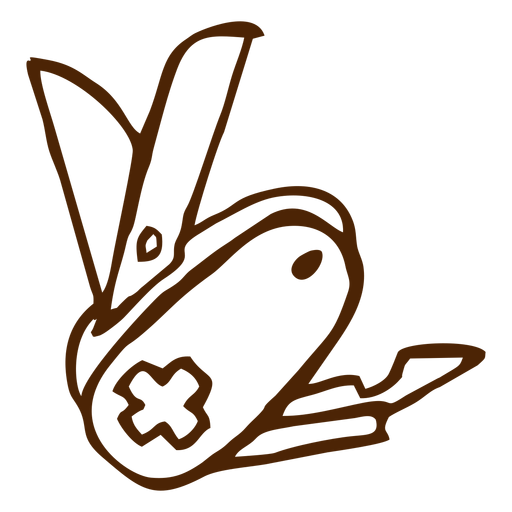 Icono de cuchillo suizo dibujado a mano