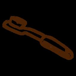 Icono de cepillo de dientes dibujado a mano