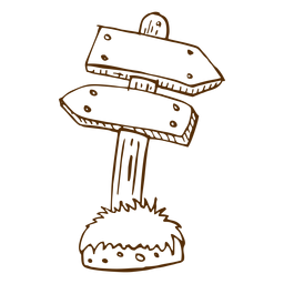 Dibujado a mano icono de flecha de dirección de madera