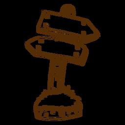 Mão desenhada ícone de seta de direção de madeira