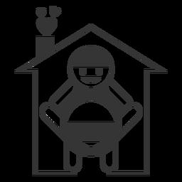 Icono de estilo de línea de casa feliz