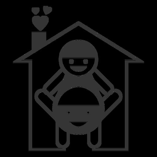 Ícone de estilo de linha de casa feliz Transparent PNG