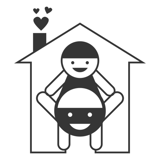 Happy home line style icon Transparent PNG