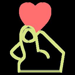 Heart finger line style vector