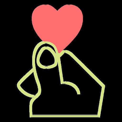 Heart finger line style vector Transparent PNG