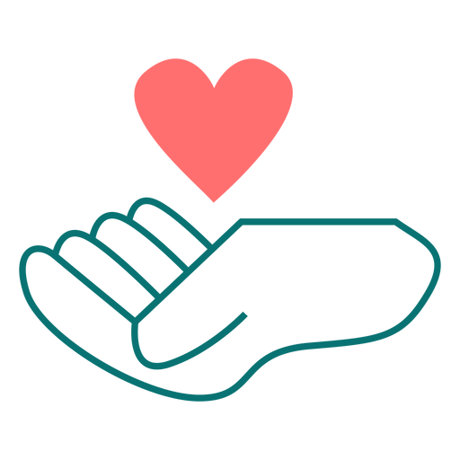 Heart floating over hand line style vector Transparent PNG