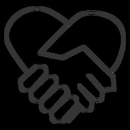Coração, dado forma, mão, sacudir, ícone