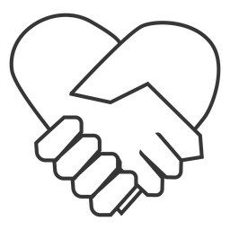 Heart shaped hand shake icon