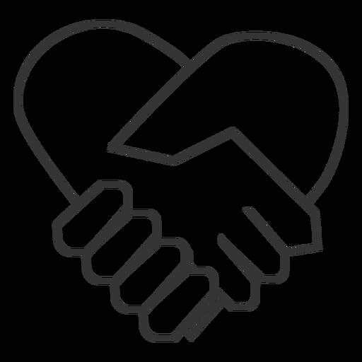 Icono en forma de corazón agitar la mano Transparent PNG